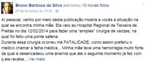 Bruno Barbosa da Silva filho da senhora hospitalada